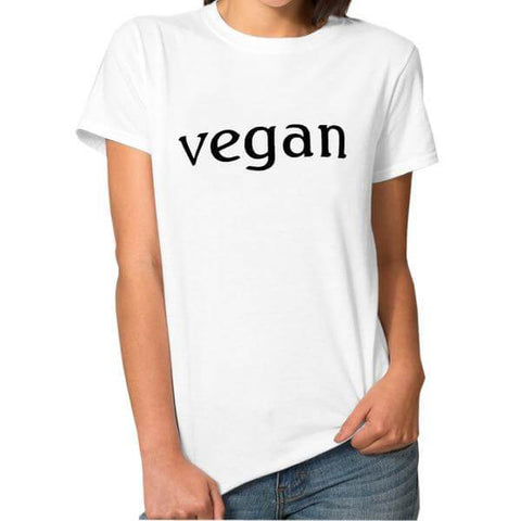 Image of 'vegan' Ladies Tshirt (2 colors) - Shop your favorite Cruelty-Free Fashion from www.AllVeganWorld.com | All Vegan World | +1-855-YA-VEGAN