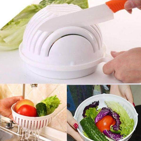 Image of 60-Second Easy Salad Cutter Bowl - Shop your favorite Kitchen Gadgets from www.AllVeganWorld.com | All Vegan World | +1-855-YA-VEGAN