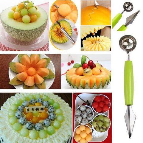 Multifunctional Melon Baller & Fruit Carving Tool - Shop your favorite Kitchen Gadgets from www.AllVeganWorld.com | All Vegan World | +1-855-YA-VEGAN
