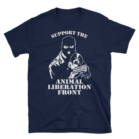 Image of 'SUPPORT THE ANIMAL LIBERATION FRONT' Unisex Tshirt (2 colors) - Shop your favorite Cruelty-Free Fashion from www.AllVeganWorld.com | All Vegan World | +1-855-YA-VEGAN