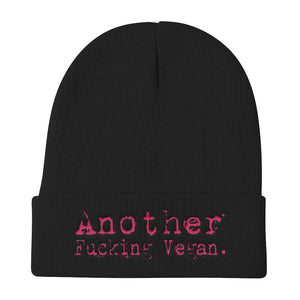 'Another Fucking Vegan' Unisex Knit Beanie - Grunge Font (4 colors)