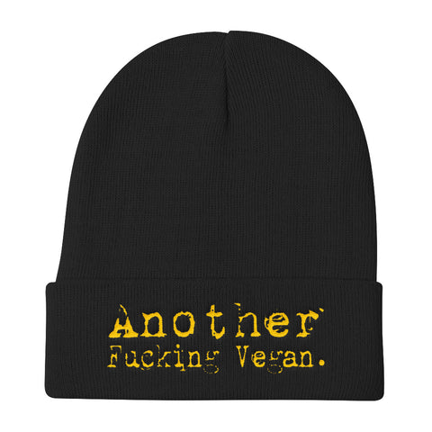 Image of 'Another Fucking Vegan' Unisex Knit Beanie - Grunge Font (4 colors) - Shop your favorite Vegan Accessories from www.AllVeganWorld.com | All Vegan World | +1-855-YA-VEGAN