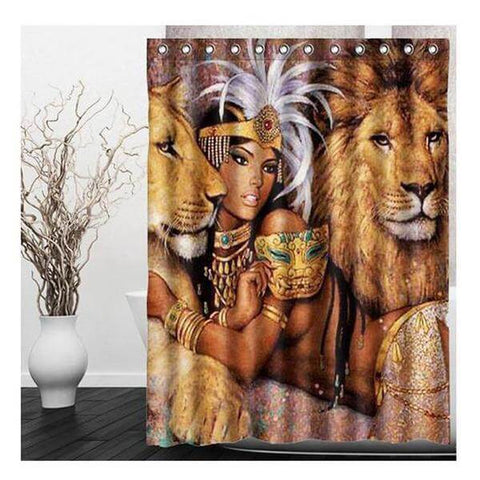 Eco-Friendly 'Gorgeous Lion Goddess' Shower Curtain - Shop your favorite Vegan Accessories from www.AllVeganWorld.com | All Vegan World | +1-855-YA-VEGAN