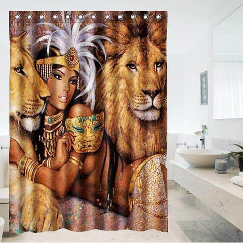 Image of Eco-Friendly 'Gorgeous Lion Goddess' Shower Curtain - Shop your favorite Vegan Accessories from www.AllVeganWorld.com | All Vegan World | +1-855-YA-VEGAN
