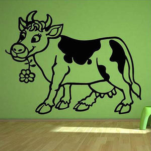 Happy Cow Vinyl Wall Sticker (2 sizes, 6 colors) - Shop your favorite Vegan Accessories from www.AllVeganWorld.com | All Vegan World | +1-855-YA-VEGAN