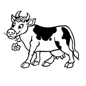 Happy Cow Vinyl Wall Sticker (2 sizes, 4 colors)