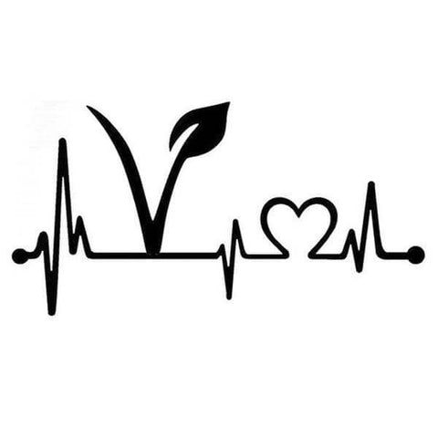 Image of 'Vegan Heartbeat Lifeline' Vinyl Sticker (5 colors) - Shop your favorite Vegan Accessories from www.AllVeganWorld.com | All Vegan World | +1-855-YA-VEGAN