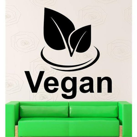 'Vegan' Wall Art Decal (4 sizes) - Shop your favorite Vegan Accessories from www.AllVeganWorld.com | All Vegan World | +1-855-YA-VEGAN