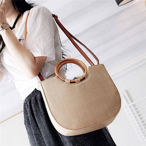 Bohemian Beach Tote With Wooden Handle - Shop your favorite Vegan Bags from www.AllVeganWorld.com | All Vegan World | +1-855-YA-VEGAN