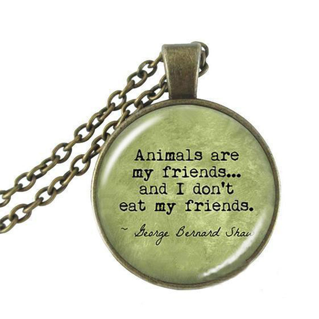 Animals are my friends vintage pendant necklace all vegan world tap to expand aloadofball Images