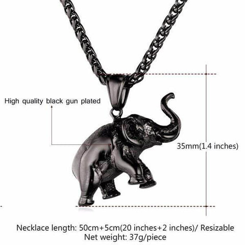 Image of Elephant Lucky-Charm Pendant Necklace (gold, silver, black) - Shop your favorite Vegan Bling from www.AllVeganWorld.com | All Vegan World | +1-855-YA-VEGAN