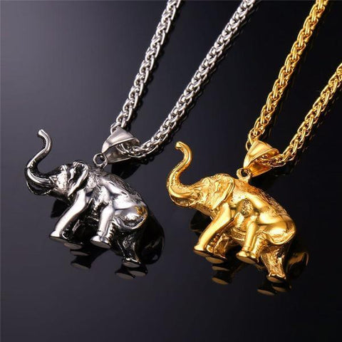 Elephant Lucky-Charm Pendant Necklace (gold, silver, black) - Shop your favorite Vegan Bling from www.AllVeganWorld.com | All Vegan World | +1-855-YA-VEGAN