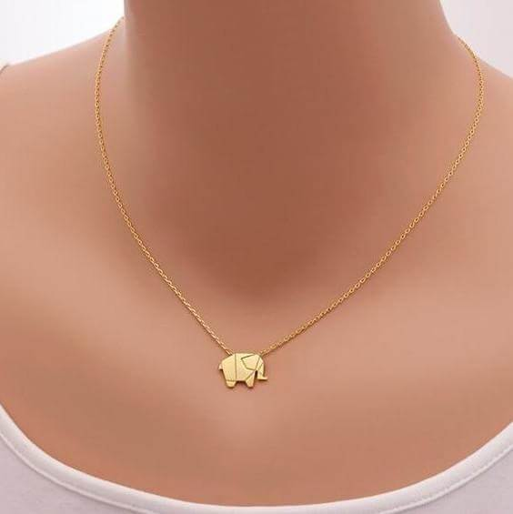 Geometric Origami Elephant Necklace (gold or silver) - Shop your favorite Vegan Bling from www.AllVeganWorld.com | All Vegan World | +1-855-YA-VEGAN