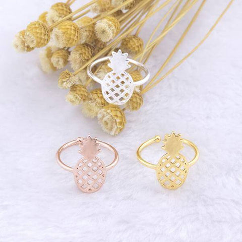 Gorgeous Pineapple Adjustable Unisex Ring (3 colors) - Shop your favorite Vegan Bling from www.AllVeganWorld.com | All Vegan World | +1-855-YA-VEGAN