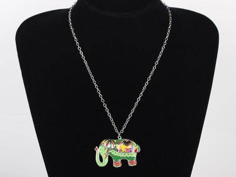 Party Elephant Paisley Enamel Pendant Necklace (6 styles) - Shop your favorite Vegan Bling from www.AllVeganWorld.com | All Vegan World | +1-855-YA-VEGAN