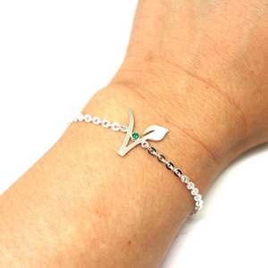 'Vegan Symbol' Green Emerald Celebration-Gift Bracelet