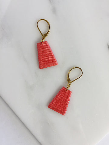 Mat Earrings- Coral
