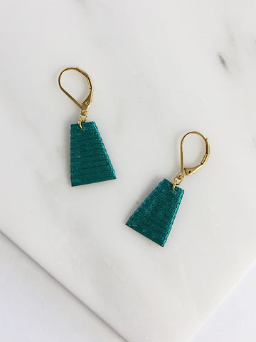 Mat Earrings- Emerald