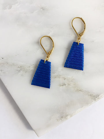 Mat Earrings- Royal Blue