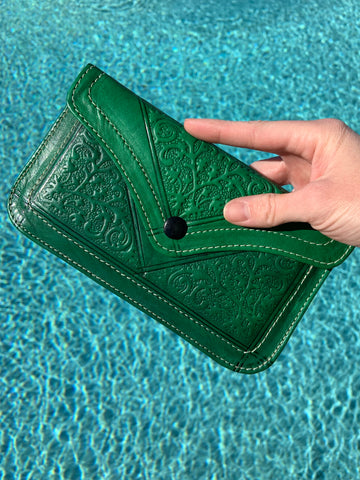 Pre Order Hand Stamped Leather Clutch: Emerald Green