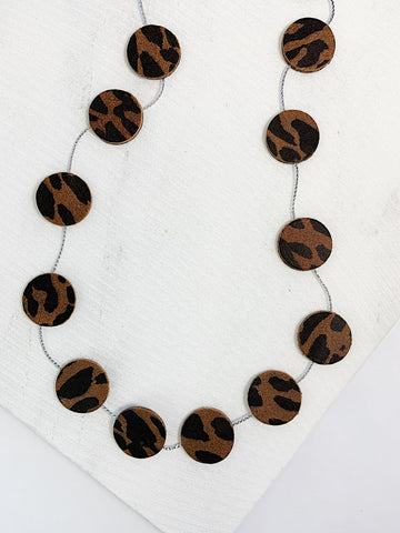 Nora Leather Disco Necklace Brown Leopard Print