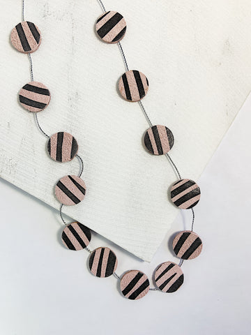 Nora Leather Disco Necklace Zebra Print
