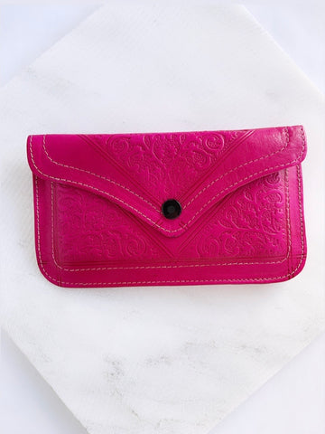 Hand Stamped Leather Envelope Clutch