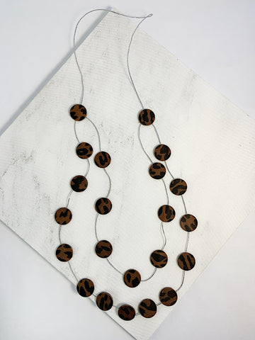 Katy Leather Disco Necklace Brown Leopard Print