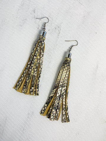 Flecos Leather Tassel Earrings Snake Skin Print