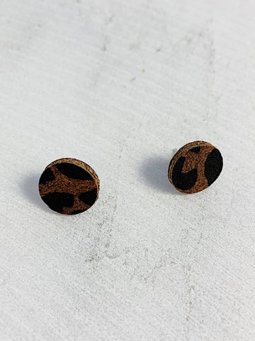 Leather Stud Earrings Brown Leopard Print