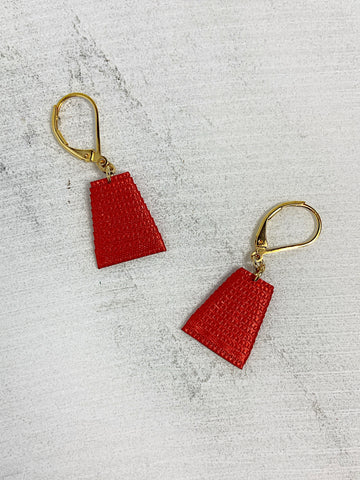Mat Earrings- Red