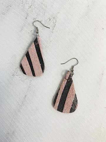 Capoeira Leather Earrings Zebra Print