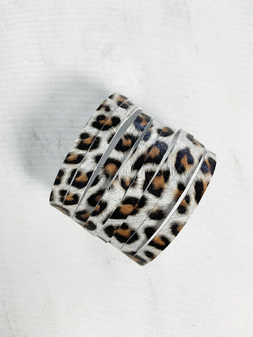Zoe Leather Cuff Bracelet White Leopard Print