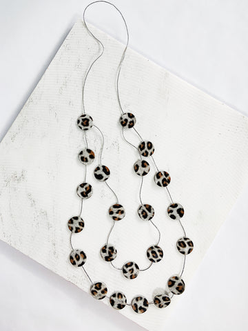 Katy Leather Disco Necklace White Leopard Print