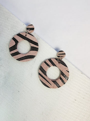 O Leather Earrings Zebra Print