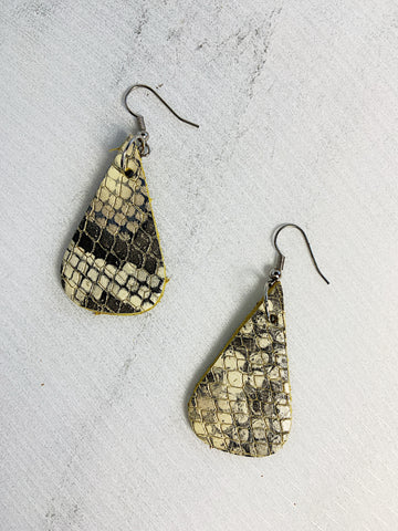 Capoeira Leather Earrings Snake Skin Print