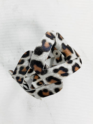Gigi Leather Cuff Bracelet White Leopard Print