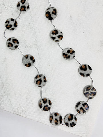 Nora Leather Disco Necklace White Leopard Print