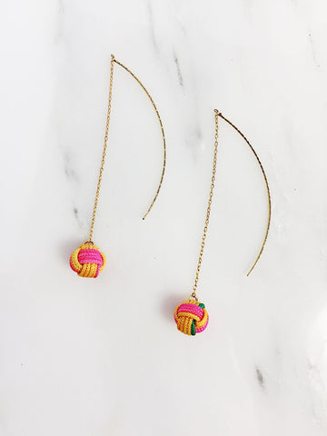 Pre Order - Musubidama Knot Drop Earrings with back