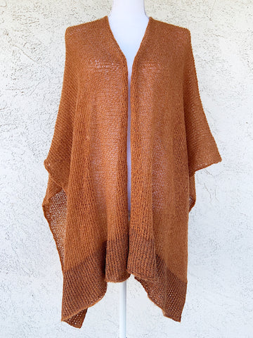 Vegan Silk and Mohair Poncho