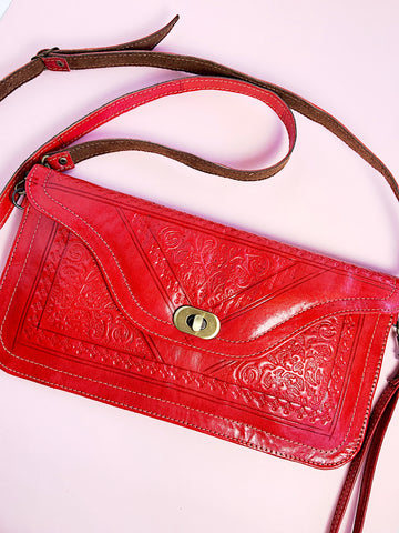 Stamped Leather Clutch + Crossbody