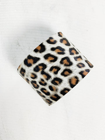 Zoe Leather Solid Cuff Bracelet White Leopard Print