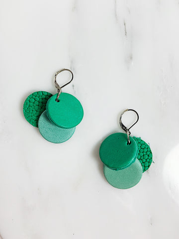 Tri Circle Leather Earrings