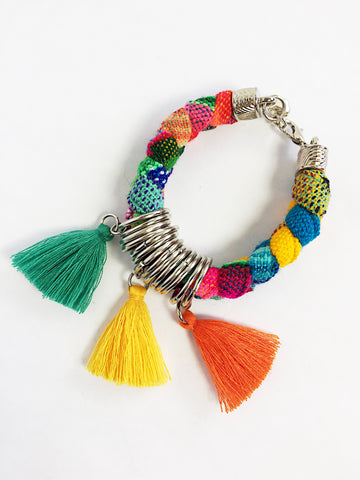 Aguayo Textile Bracelet with Tassels
