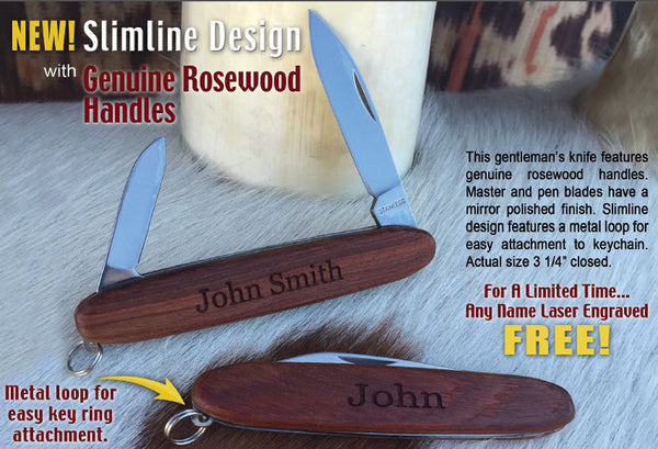 Laser Engraved Genuine Rosewood Knives