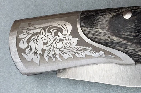 Silver Leaf Handled Laser Engraved Knives