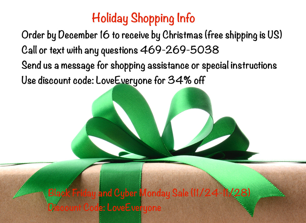 Holiday Info and Discount Code