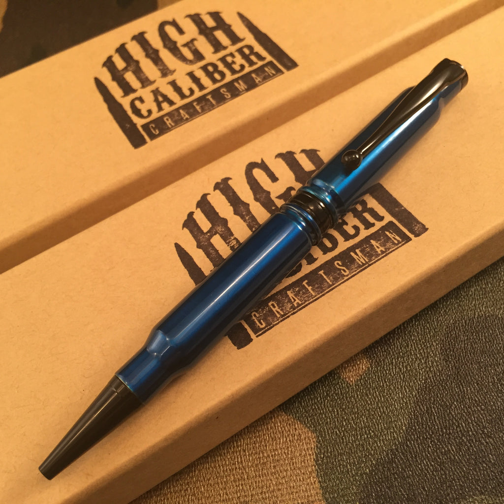 308 Anodized Blue Powder Coated Pen