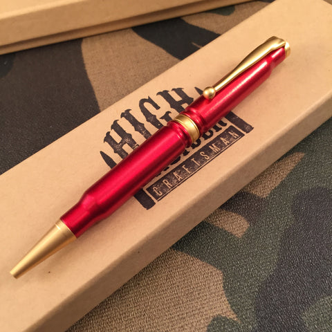 308 Anodized Red Powder Coated Pen