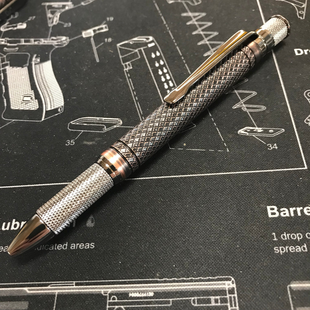 Copper knurl twist pen